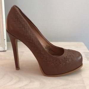 Kelsi Dagger Brown Leather Platform Pumps